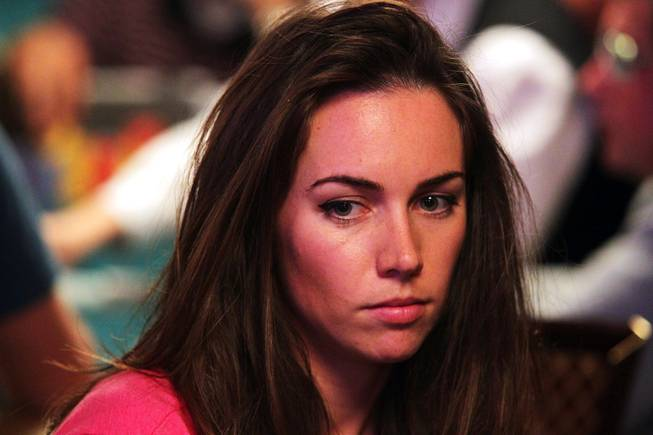 Liv Boeree plays in the Main Event of the World Series of Poker at the Rio in Las Vegas on Thursday, July 12, 2012.