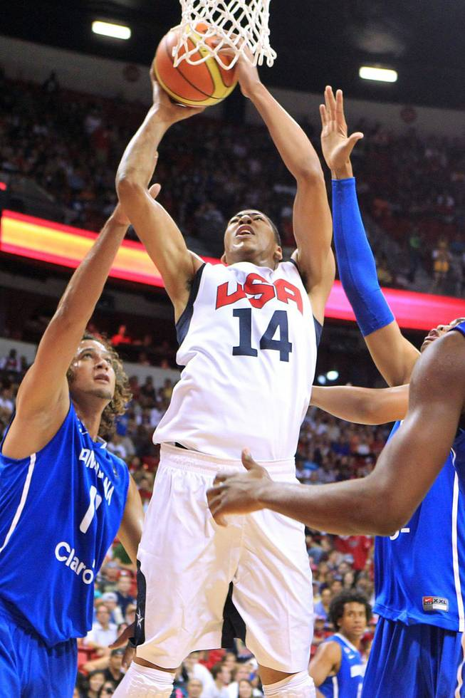 U.S. Olympic basketball team's Anthony Davis puts up a shot against the Dominican Republic team during their exhibition game Thursday, July 12, 2012 at the Thomas & Mack Center. The U.S. won 113-59.