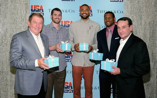USA Basketball Chairman Jerry Colangelo, 2012 USA Basketball Men's National Team members Kevin Love, Tyson Chandler and Andre Iguodala and USA head coach Mike Krzyzewski at Tiffany & Co. in the Forum Shops at Caesars Palace on Tuesday, July 10, 2012.