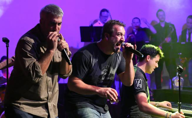 "Taylor Hicks, Joey Fatone and Frankie Moreno perform ""Mustang Sally"" in the Lounge at the Palms on Saturday, July 14, 2012."