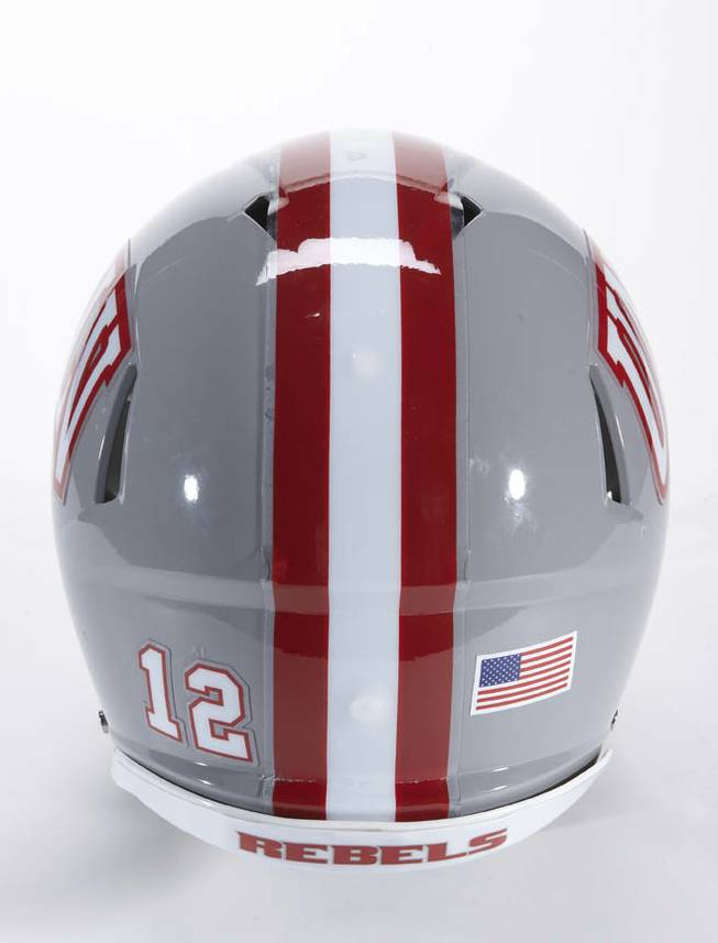 A rear view of UNLV's 2012 football helmet.