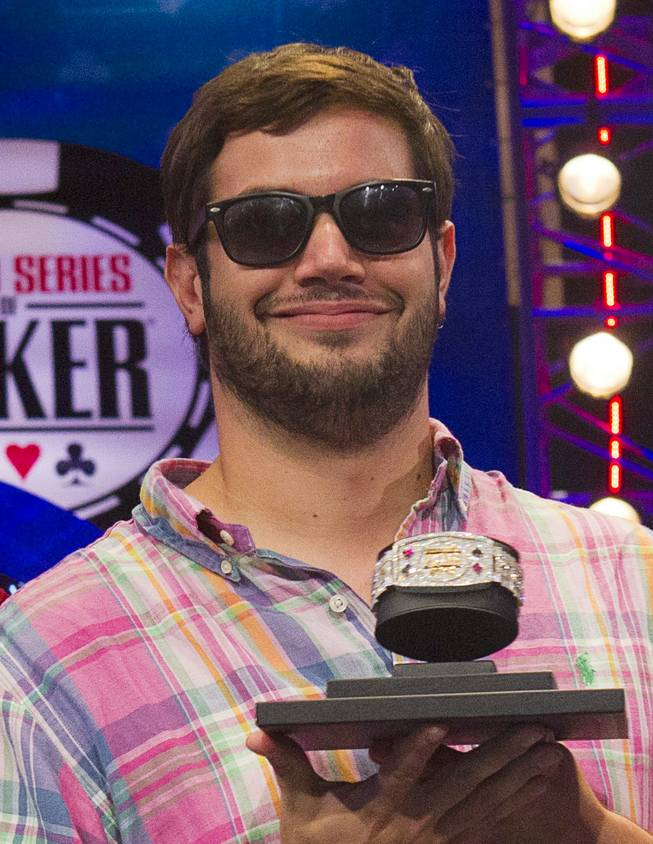Robert Salaburu, a member of the October Nine, after making the final table in the World Series of Poker's $10,000 buy-in, no-limit Texas Hold'em main event at the Rio Monday, July 17, 2012.