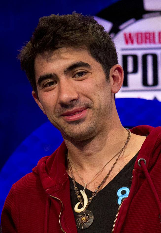 Jesse Sylvia, a member of the October Nine, after making the final table in the World Series of Poker's $10,000 buy-in, no-limit Texas Hold'em main event at the Rio Monday, July 17, 2012.