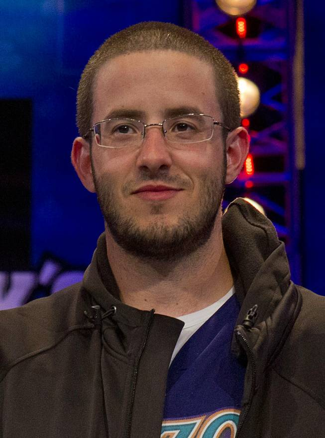 Greg Merson, a member of the October Nine, after making the final table in the World Series of Poker's $10,000 buy-in, no-limit Texas Hold'em main event at the Rio Monday, July 17, 2012.