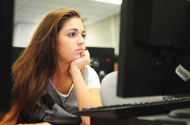 Ashley Garcia, 17, studies at UNLV's Summer Bridge program on Tuesday, July 17, 2012. The new program helps incoming freshmen avoid costly remedial math courses by preparing them for five weeks over the summer to pass a math proficiency exam that places them into a college-level math course.
