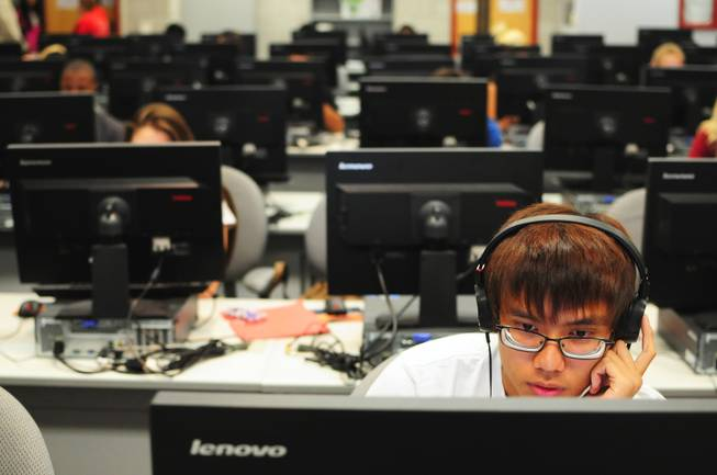 Timmy Nguyen, 18, studies at UNLV's Summer Bridge program on Tuesday, July 17, 2012. The new program helps incoming freshmen avoid costly remedial math courses by preparing them for five weeks over the summer to pass a math proficiency exam that places them into a college-level math course.