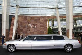 A compressed natural gas (CNG)-powered limousine is shown at the Aria porte cochere Thursday, July 19, 2012. Aria has 29 CNG-powered limousines. Bellagio and Mirage also have CNG-powered limousines.