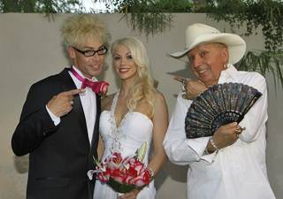 Murray Sawchuck and Chloe Crawford wed in Las Vegas on Friday, July 20, 2012. Monte Rock III officiated, Doug Leferovich served as best man, and Ashton Nicole was the bridesmaid.