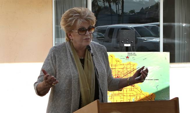 Las Vegas Mayor Carolyn Goodman speaks at the grand opening of Veteran's Village, a 125-unit converted motel for housing homeless veterans on Las Vegas Boulevard, south of Charleston Boulevard. Several organizations that provide services for veterans are also partnering on the project.