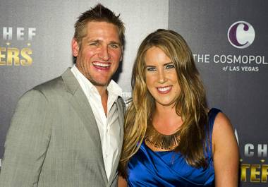 "Show host Curtis Stone and Season 4 judge Krista Simmons arrive for the ""Top Chef Masters"" Season 4 premiere party at Boulevard Pool in the Cosmopolitan of Las Vegas on Wednesday, July 25, 2012."
