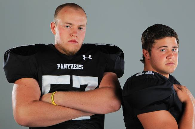 Palo Verde football players Brad Solomon and Andrew Simister Thursday, July 26, 2012.
