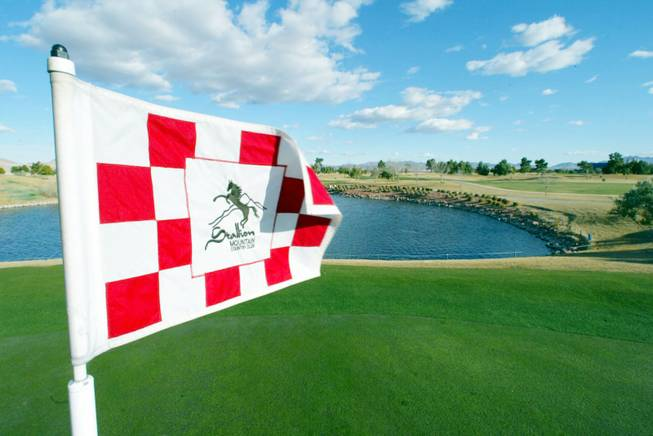 The flag on the pin of the 13th hole of the Secretariat Course of the Stallion Mountain Golf Course blows in the wind Wednesday, February 4, 2004.    SAM MORRIS / LAS VEGAS SUN