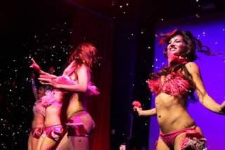 Melissa Rose, right, performs in The Lalas Burlesque Show in the Lounge at the Palms in Las Vegas on Friday, July 27, 2012.