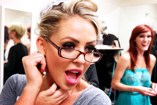 Performer Chantel Gonsalves gets ready backstage before The Lalas Burlesque Show in the Lounge at the Palms in Las Vegas on Friday, July 27, 2012.