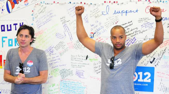 "Actors Zach Braff and Donald Faison  most known for their roles in the popular TV sitcom ""Scrubs""  visited a Barack Obama presidential campaign office in Las Vegas on Saturday, July 28, 2012, to support volunteers canvassing in the central valley."