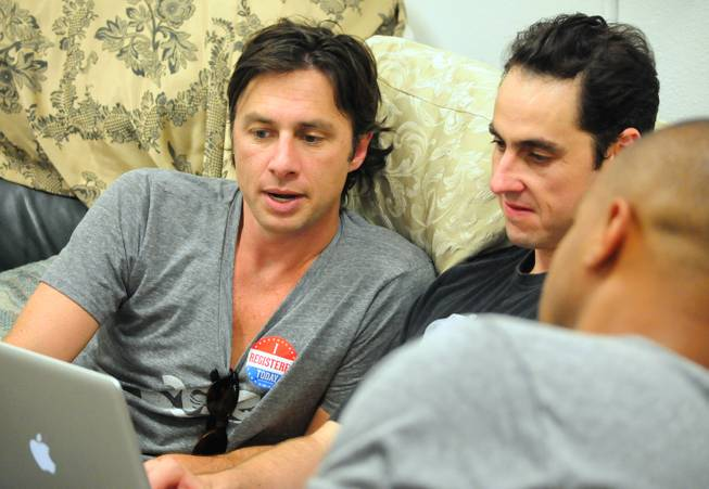 "Actor Zach Braff and Jason Karsh, digital director of Barack Obama's Nevada campaign offices, conduct a live Twitter chat at a Barack Obama presidential campaign office in Las Vegas on Saturday, July 28, 2012. Braff and fellow ""Scrubs"" actor Donald Faison were in town to support Obama volunteers canvassing in the central valley."