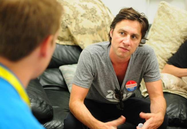 "Actor Zach Braff participates in media interview at a Barack Obama presidential campaign office in Las Vegas on Saturday, July 28, 2012. Braff and co-star Donald Faison from of the popular TV sitcom ""Scrubs"" were in town to support volunteers canvassing in the central valley."