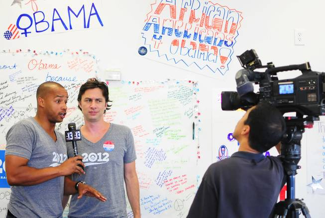 "Actors Zach Braff and Donald Faison participate in a media interview at a Barack Obama presidential campaign office in Las Vegas on Saturday, July 28, 2012. The television personalities most known for their roles in the popular sitcom ""Scrubs"" were in town to support Obama volunteers canvassing in the central valley."