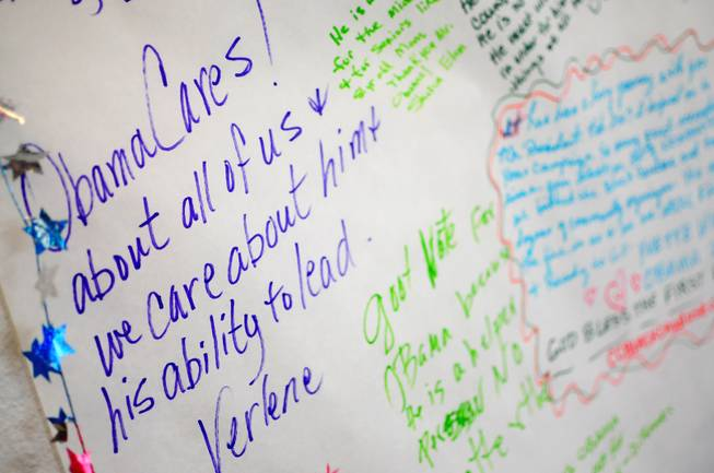 Volunteers wrote messages of support for President Barack Obama's re-election campaign at a Las Vegas campaign office on Saturday, July 28, 2012.