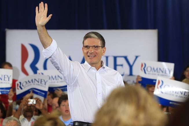 Congressman Joe Heck is introduced at a campaign event for Mitt Romney at Ronnow Elementary school featuring U.S. Sen. Marco Rubio Saturday, July 28, 2012.