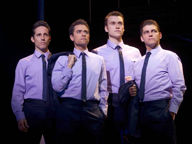 """Jersey Boys"" cast members Jeff Leibow, Graham Fenton, Rob Marnell and Deven May at the Paris."