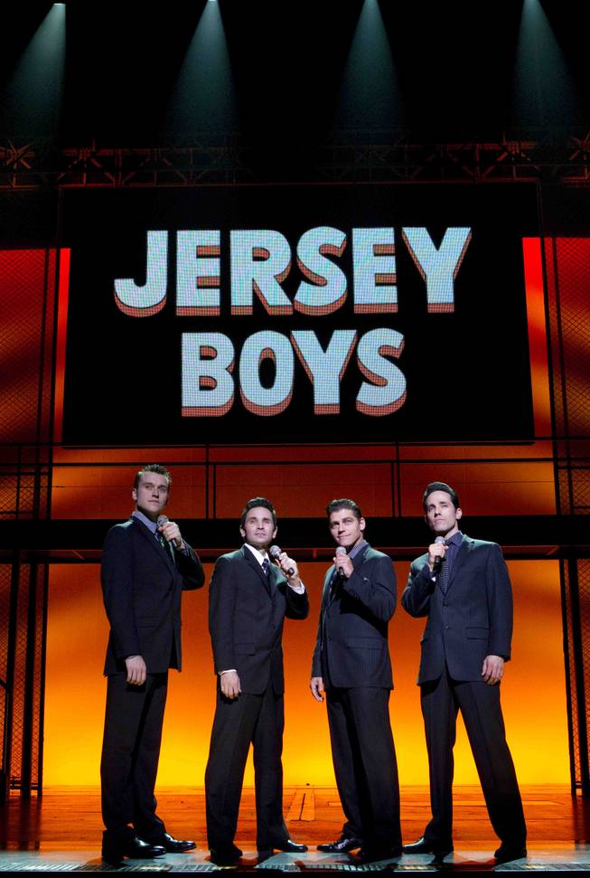 """Jersey Boys"" cast members Rob Marnell, Travis Cloer, Deven May and Jeff Leibow at the Paris."