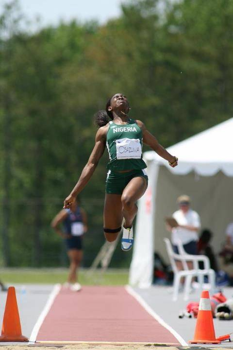 Uhunoma Osazuwa, a 2006 Clark High grad, competes in the long jump for Nigeria at a recent track and field event. Osazuwa owns the Nigerian national record in the heptathlon and will take part in the seven-event competition at the London Olympics.