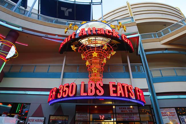 The sign for Heart Attack Grill is shown at Neonopolis in Downtown Las Vegas on Wednesday, Aug. 1, 2012.