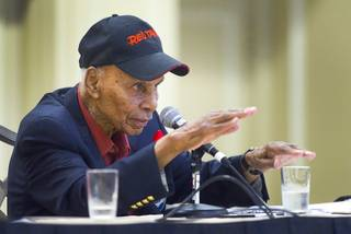 Tuskegee Airman Roscoe C. Brown, Jr. describes shooting down a German jet fighter during World War II . Brown was participating in an International Black Aerospace Council panel discussion at the Las Vegas Hotel Wednesday, August 1, 2012. Brown was the former squadron commander of the 100th Fighter Squadron of the 332nd Fighter Group.