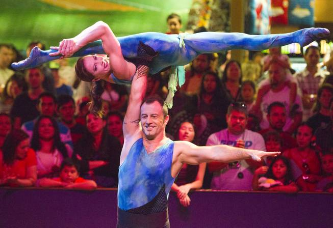"Magdalena Cyran and Tom Smiela of Poland, also known as the ""Duo Joys,"" perform at the Midway at Circus Circus Thursday, August 2, 2012."