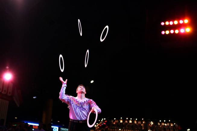 Raul Cubillos performs a juggling act at the Circus Circus Midway in Las Vegas on Thursday, August 2, 2012.