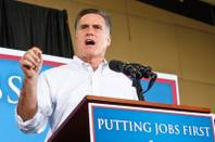 Presidential hopeful Mitt Romney speaks to supporters at an event held at Sierra Truck Body & Equipment, a North Las Vegas business, Friday, Aug 3, 2012.