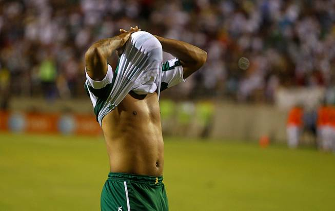 Cristian Suarez of Santos Laguna reacts after missing a goal against Real Madrid during match 7 of the 2012 Herbalife World Football Challenge at Sam Boyd Stadium on Sunday, Aug. 5, 2012.