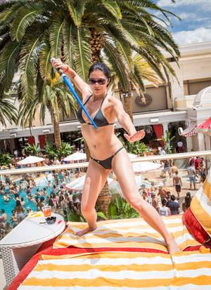 Adrianne Curry celebrates her 30th birthday at Encore Beach Club on Saturday, Aug. 4, 2012.