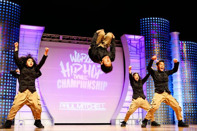 A-TEAM from the Philippines competes at 2012 World Hip Hop Dance Championships Sunday, August 5, 2012, at the Orleans Arena in Las Vegas.