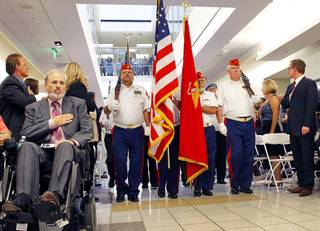 Members of the Marine Corp League and Catholic War Veterans participate in a dedication ceremony for the VA Southern Nevada Healthcare System Las Vegas Medical Center (VASNHS) in North Las Vegas Monday, August 6, 2012.