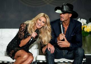 Faith Hill and Tim McGraw announce their extended engagement at the Venetian on Tuesday, Aug. 7, 2012.