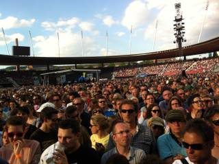 The crowd waits for Springsteen to perform in Zurich.