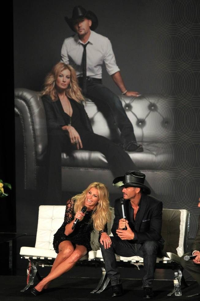 Faith Hill and Tim McGraw announce their concert series at the Venetian on Tuesday, Aug. 7, 2012.
