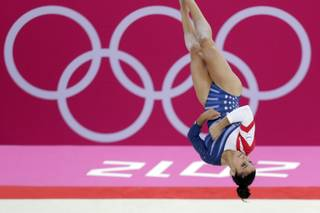 U.S. gymnast Alexandra Raisman performs during the artistic gymnastics women's floor exercise final at the 2012 Summer Olympics, Tuesday Aug. 7, 2012, in London.