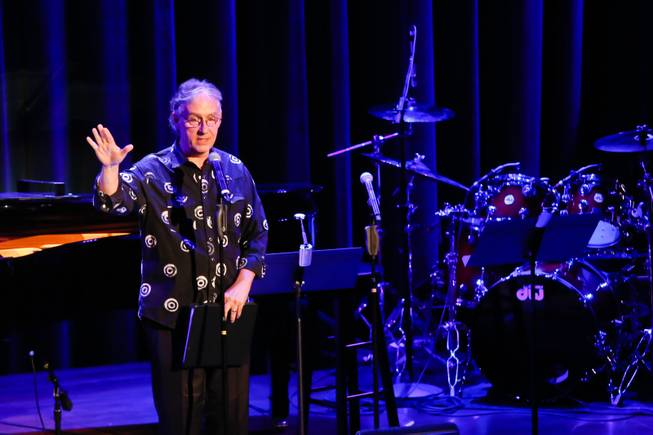 "Wayne Green, associate conductor at Phantom - The Las Vegas Spectacular, speaks to the audience before calling the cast of ""Phantom"" to the stage during The Composers Showcase at the Cabaret Jazz at The Smith Center, Wednesday Aug. 8, 2012."
