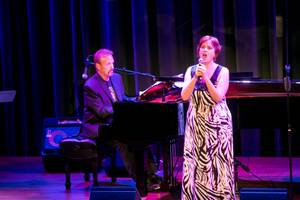 Joan Sobel, accompanied by Philip Fortenberry on the piano, sings a piece during The Composers Showcase at the Cabaret Jazz at The Smith Center, Wednesday Aug. 8, 2012.