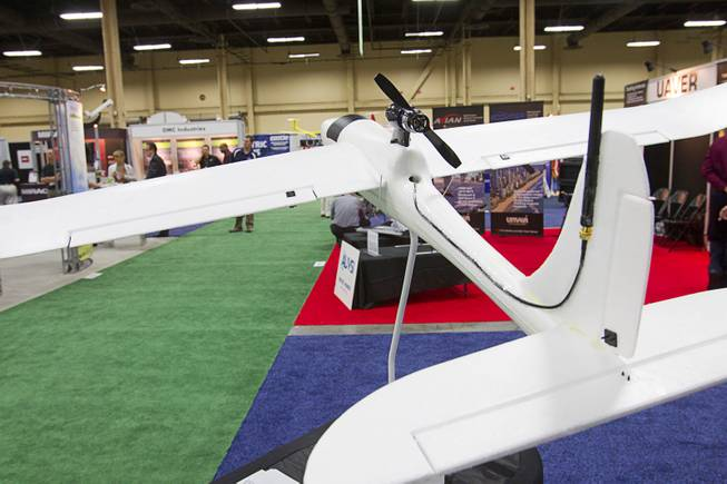 A plane with an Applewhite Aero autopilot system is displayed Thursday, Aug. 9, 2012, during the Association for Unmanned Vehicles Systems International convention at Mandalay Bay. The autopilot system has the potential to turn low-cost hobby planes into drones that can be used for basic research.