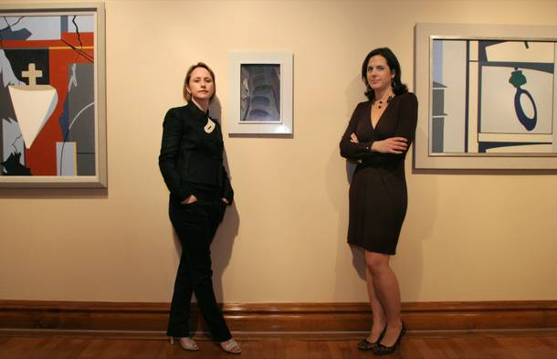 "Michele Quinn, left, curatorial advisor for MGM Mirage, poses with Tarissa Tiberti, manager of  the Bellagio gallery of fine art, during a media preview of the exhibition ""American Modernism"" at the Bellagio gallery of fine art Thursday, February 7, 2008. The exhibit replaced ceramics by Picasso and is scheduled to run through October."
