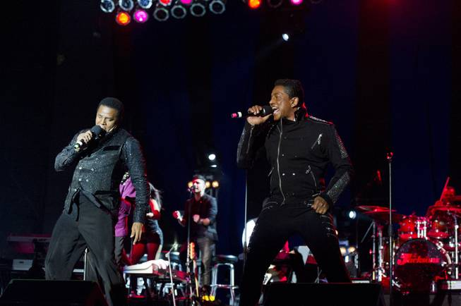 Jackie, left, and Jermaine Jackson perform during The Jacksons: Unity Tour 2012, part of the Seaside Summer Concert Series on Saturday, Aug. 11, 2012 in Brooklyn, New York.