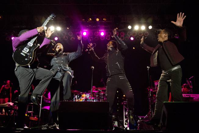 Tito, from left to right, Jackie, Jermaine and Marlon Jackson perform during The Jacksons: Unity Tour 2012, part of the Seaside Summer Concert Series on Saturday, Aug. 11, 2012 in Brooklyn, New York.
