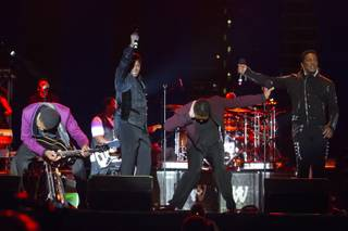 Tito, Jackie, Marlon and Jermaine Jackson perform during The Jacksons: Unity Tour 2012, part of the Seaside Summer Concert Series, on Saturday, Aug. 11, 2012, in Brooklyn, New York.