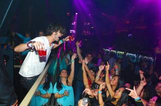 Tyson Ritter parties at Chateau Nightclub & Gardens in the Paris on Saturday, Aug. 11, 2012.