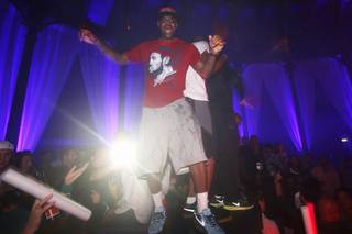 LeBron James parties at Club Bud presents Tao/Marquee with Swizz Beatz at the Roundhouse in London on Sunday, Aug. 12, 2012.