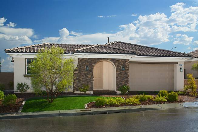 An exterior view of a model home by Harmony Homes for their Bilbray Ranch project based in Laughlin.